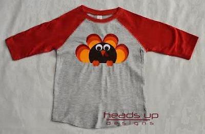 Thanksgiving Turkey Shirt Raglan Toddler Boy or Girl Baby Kids Trendy Tee NBC