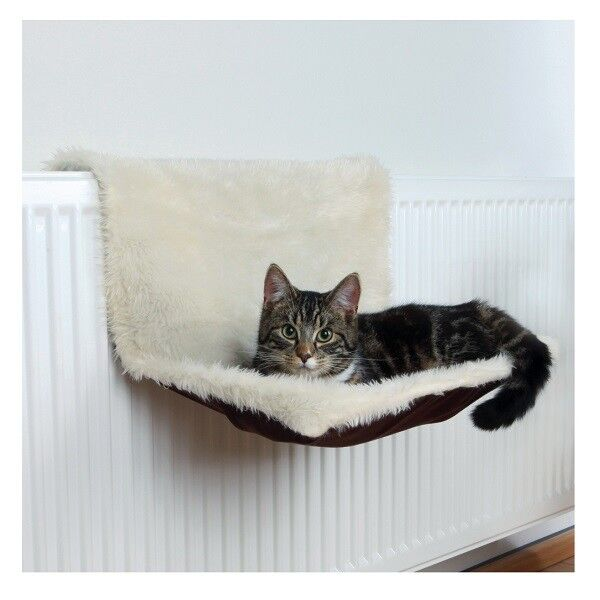 Trixie Radiator Cat Bed Cream/Brown Long-Haired Plush/Suede & Adjustable Holder
