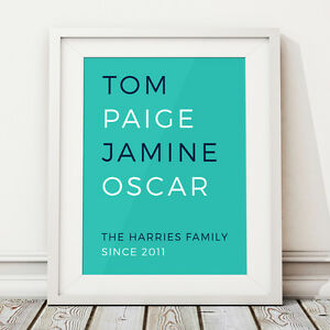Image is loading Family-Names-Kids-List-Personalised-Print-Home-Housewarming -  sc 1 st  eBay & Family Names Kids List Personalised Print Home Housewarming Gift ...
