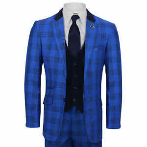 Mens 3 Piece Suit Retro Black Plaid Check on Royal Blue Contrast Navy Waistcoat