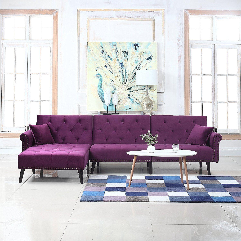 Mid Century Style Velvet Sleeper Futon Couch Living Room L