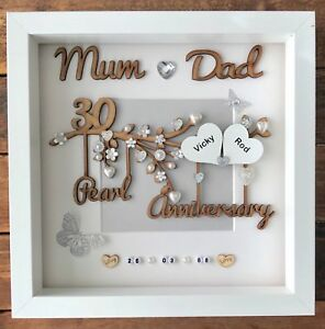 Image is loading Handmade-Personalised-Pearl-30th-Wedding-Anniversary-Gift -Frame-