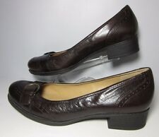 Naturalizer N5 Comfort Prema Brown Leather Round Toe Pumps w/Buckle Detail Sz 9M