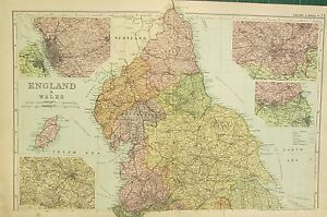 1912 LARGE ANTIQUE MAP ENGLAND WALES NORTHERN LIVERPOOL LEEDS