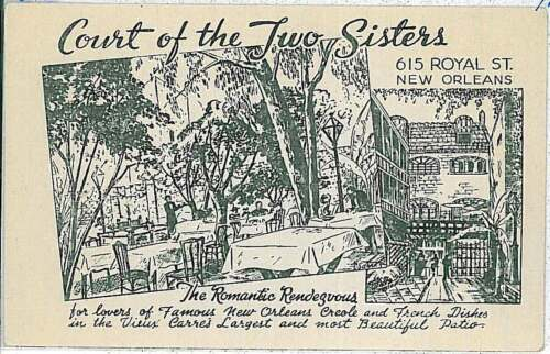 VINTAGE POSTCARD USA MASSACHUSETS NEW ORLEANS COURT OF TWO SISTERS