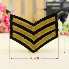 Embroidery Army Sergeant Stripes Sew Iron On Patch Badge Bag Hat Jeans Applique