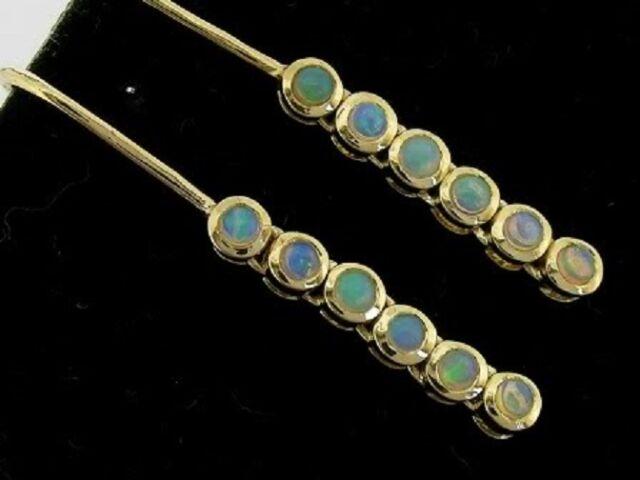 E048 Lovely Genuine 9ct SOLID Gold NATURAL Australian Opal Drop Earrings Journey