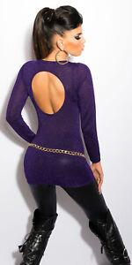 on sale 2b5b2 a24a3 Details about Sexy Maglia Lunga Pullover Sera Lame Lurex Aperto Scollato  Dietro Disco Clubwear