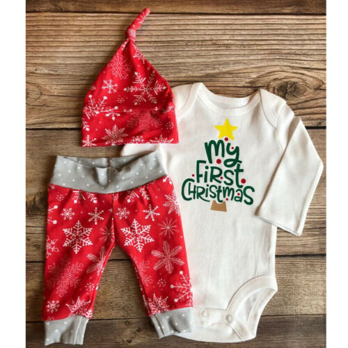 3PCS Baby Boy Girl Newborn Clothes My First Christmas Romper Pants+Hat Outfits