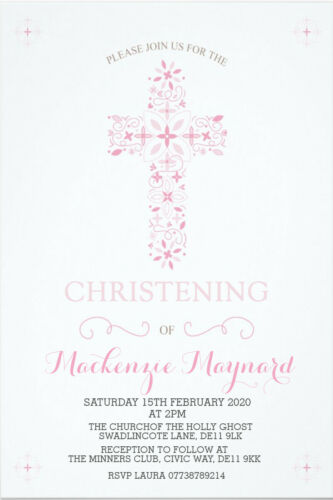 Personalised Boy Girl Trraditional Christening Baptism Invites inc envelopes