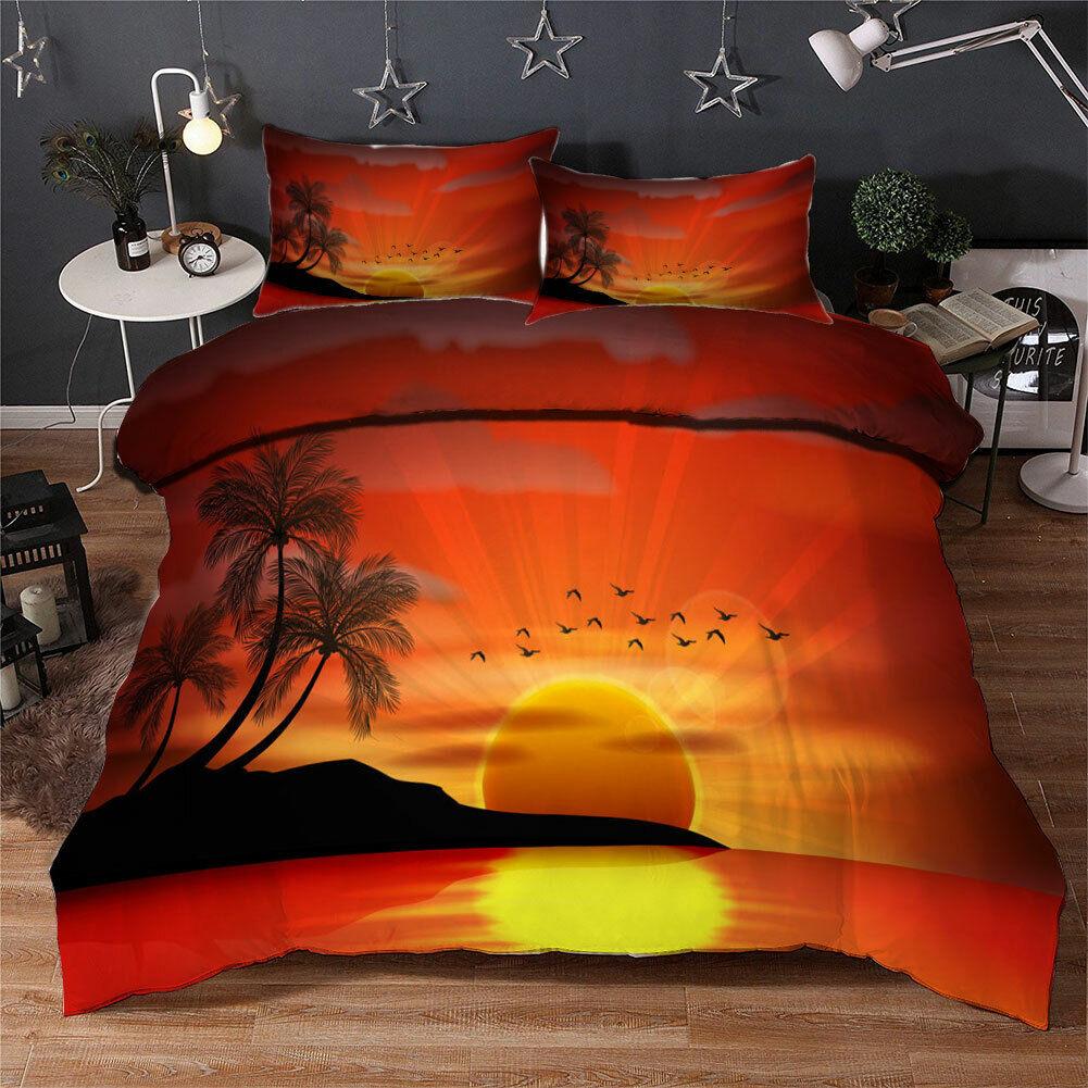 Beautiful Sunset 3D Quilt Duvet Doona Cover Set Single Double Queen King Print