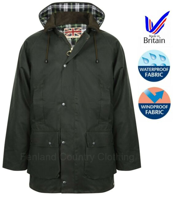 Fenland Mens Waxed Cotton Padded Jacket with Detachable Hood BRITISH COAT