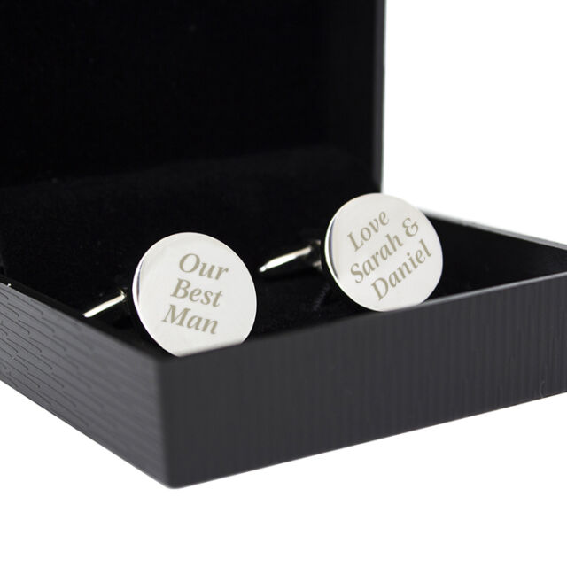 Personalised Silver Finished Round Cufflinks-Engraved Free-Fathers day, Wedding