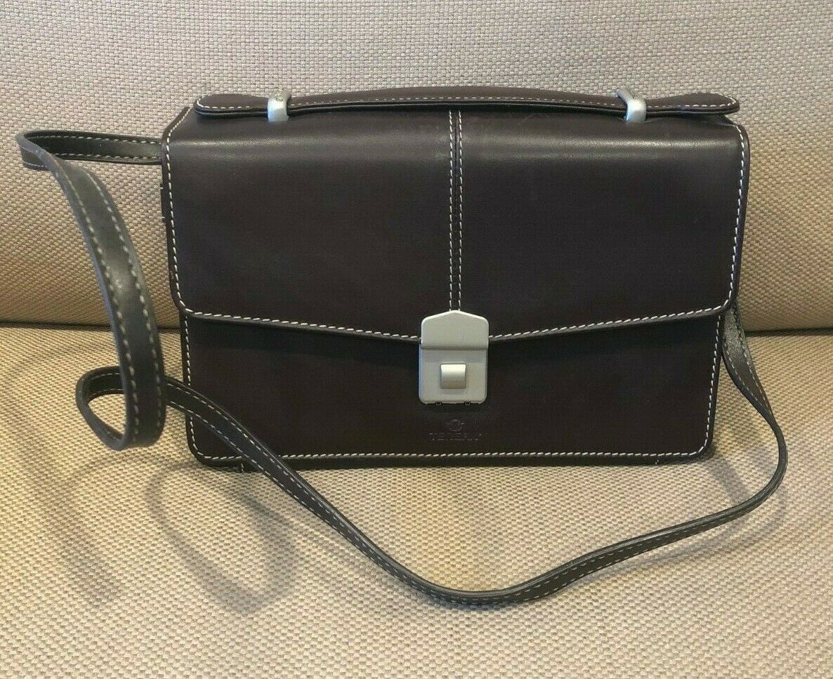 Tergan Brown Leather Purse or Clutch w/ Leather Strap, Security Lock *EUC