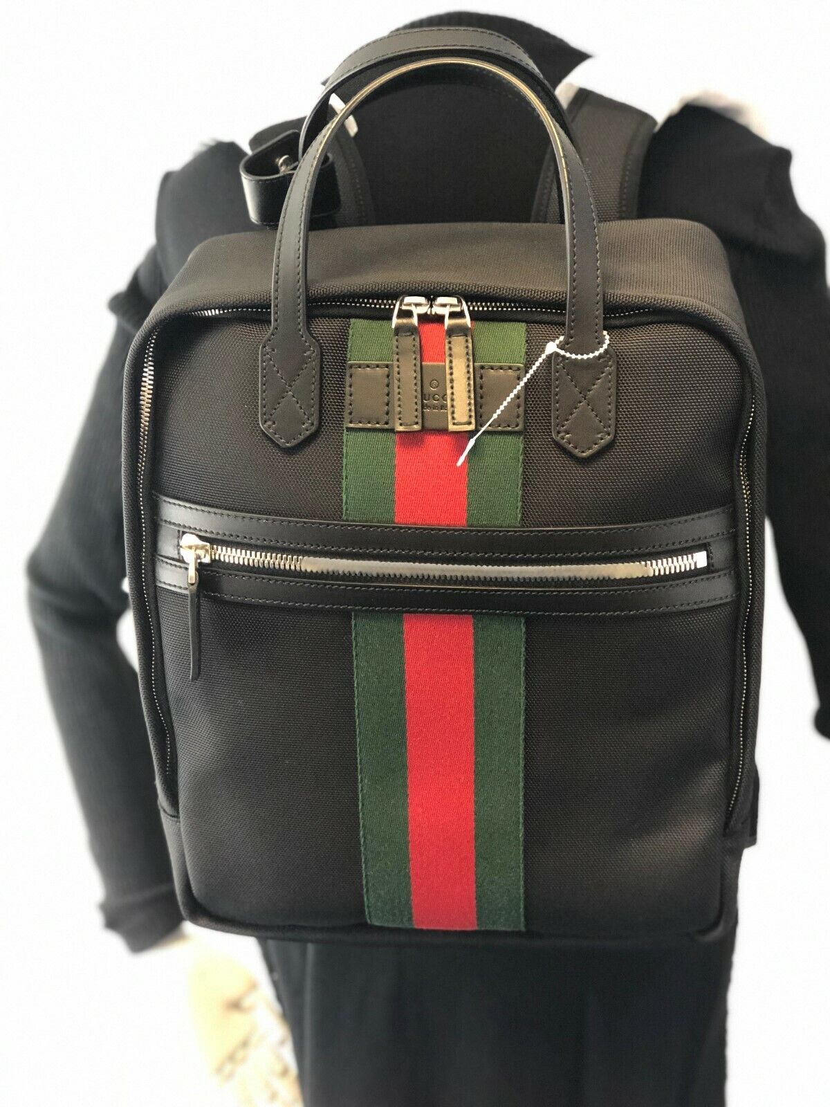 dc63611cdef Gucci Black Canvas With Green and Red Web Stripe Satchel Backpack 495558  for sale online