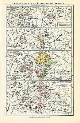 GESCHICHTE ÖSTERREICH UNGARN 1928 Alte Landkarte Karte Antique Map Lithographie