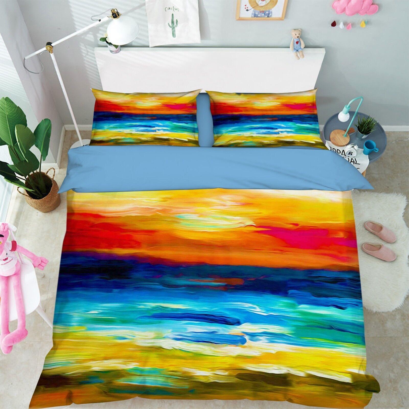 3D Landscape Paint 7 Bed Pillowcases Quilt Duvet Cover Set Single King UK Summer