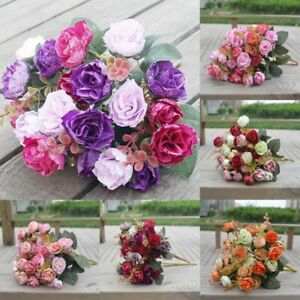 Silk Peony Artificial Flowers Fake Rose Bouquet Wedding Party Home Decor Lovers