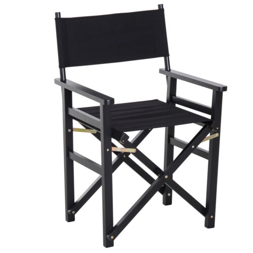 Folding Director/'s Chair Black Portable Wooden Lounge Seat Home Garden Furniture