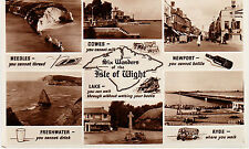 J13  SIX WONDERS OF THE ISLE OF WIGHT SEPIA POSTCARD c.1948