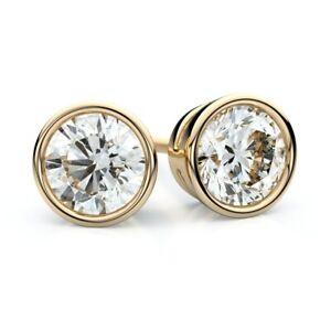 Bezel-Set-White-Sapphire-Stud-Earrings-set-in-14k-Yellow-Gold-Sterling-Silver