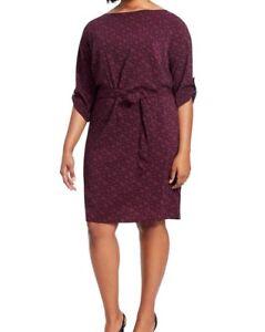 Park-amp-Pierce-Chiffon-Purple-Print-Shift-Dress-Size-XL-No-Belt