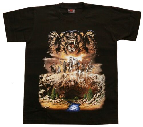 Western Reiter Zoo S,M,Rocky Mountains Cowboy T-Shirt Grizzly-Bär Indianer Gr