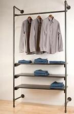 Industrial Pipe Clothing Rack Wood Garment Rack Pipeline Vintage Rolling Rack On