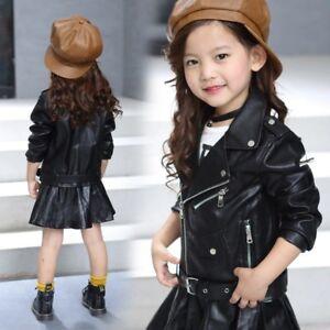d2b3597cc Kids Leather Motorcycle Jacket Cool Baby Girls Sport Biker Coat ...