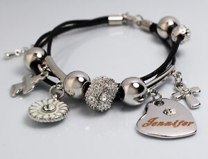 White gold charm name jennifer bracelet birthday christmas easter image is loading white gold charm name jennifer bracelet birthday christmas negle Gallery