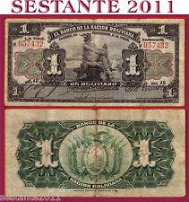 BOLIVIA  1 BOLIVIANO 11.5. 1911 SERIE  AD   BLACK SERIAL   P. 102a   -   BB / F