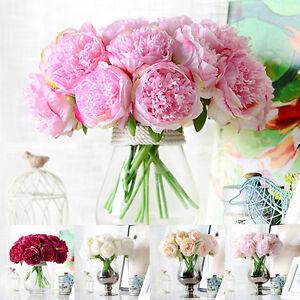 1-Blumenstrauss-Kuenstlich-Peony-Seiden-Blume-Hochzeit-Hortensie-Zuhause-Hochzeit