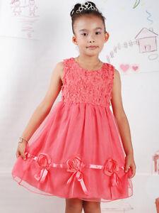3d21e108c Detalles de Vestido Niña de Fiesta Rosa Blanco Rosa Salmón 18 24 Meses 2 3  4 Años