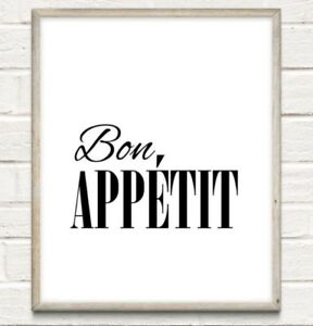 Bon Appetit Typography Print Poster Kitchen Food Nom Unframed Home Quote Gift
