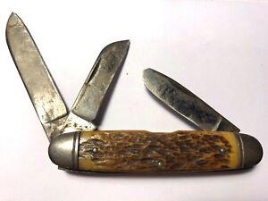 Pre Wwii High Carbon Steel Usa Carved Bone Handle 3 Blades Pocket Knife 3 5 8 Ebay