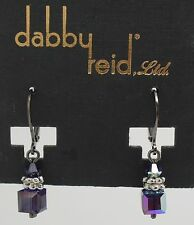 DABBY REID NEW Purple Velvet Short Crystal Drop Earrings HDE 4189B Y13