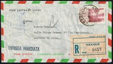 216 MEXICO TO CHILE REGISTERED AIR MAIL COVER 1960 ENTREGA INMEDIATA DF - SGO.