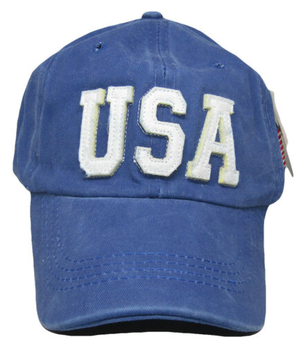 USA United States of America 3D /& USA Flag Blue Washed Embroidered Hat Cap RUF