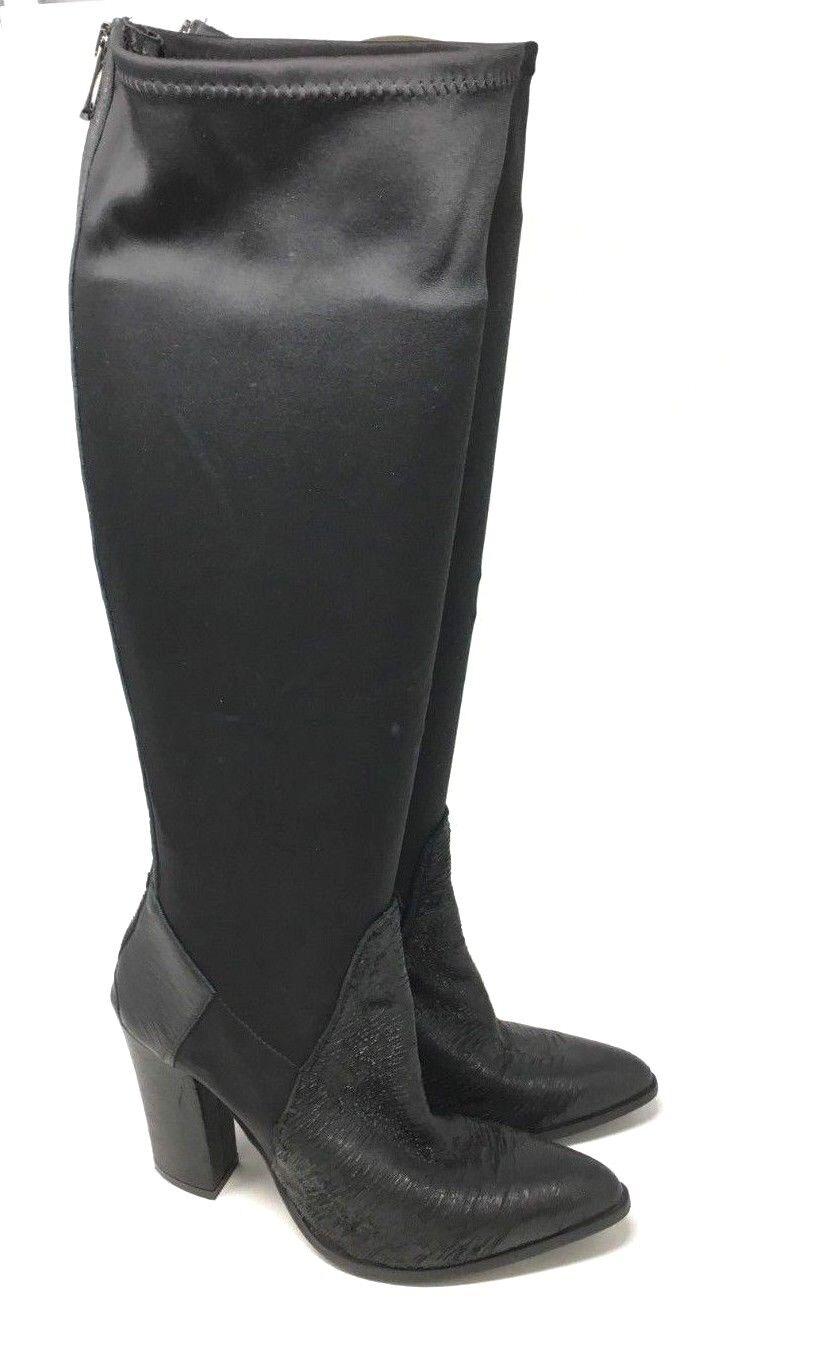 Charles David Hergestellt in Italien Schwarz Knie Höhe Groß Leder Stiefel Größe: