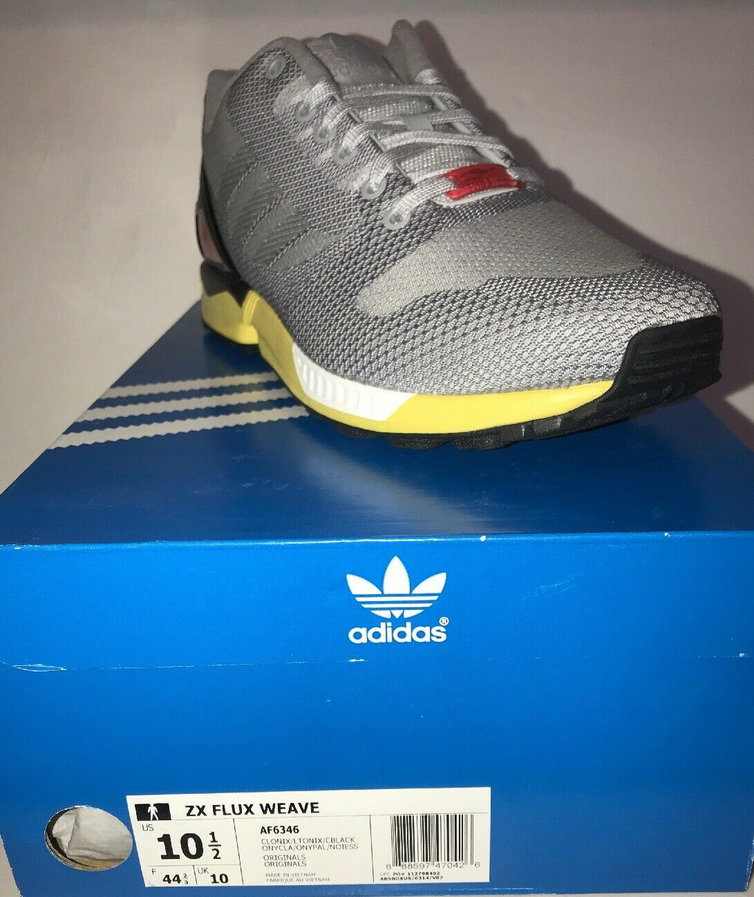 Adidas Mens' (Sz 10.5) Originals ZX Flux Weave shoes, Onix Yellow Black (AF6346)