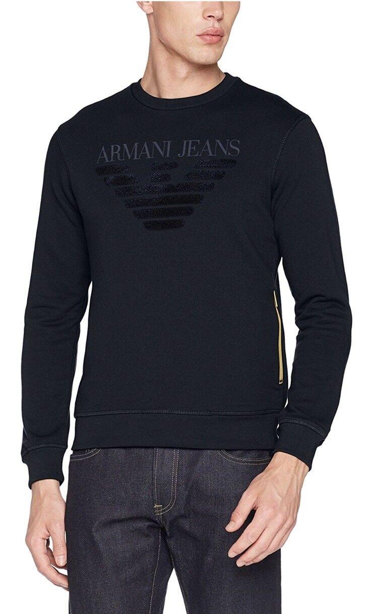 Armani Jeans Contrast Zip TextuROT Eagle Sweatshirt Navy S Brand New