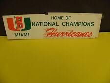 NCAA MIAMI HURRICANES LOGO NATL. FOOTBALL CHAMPIONS BUMPER STICKER