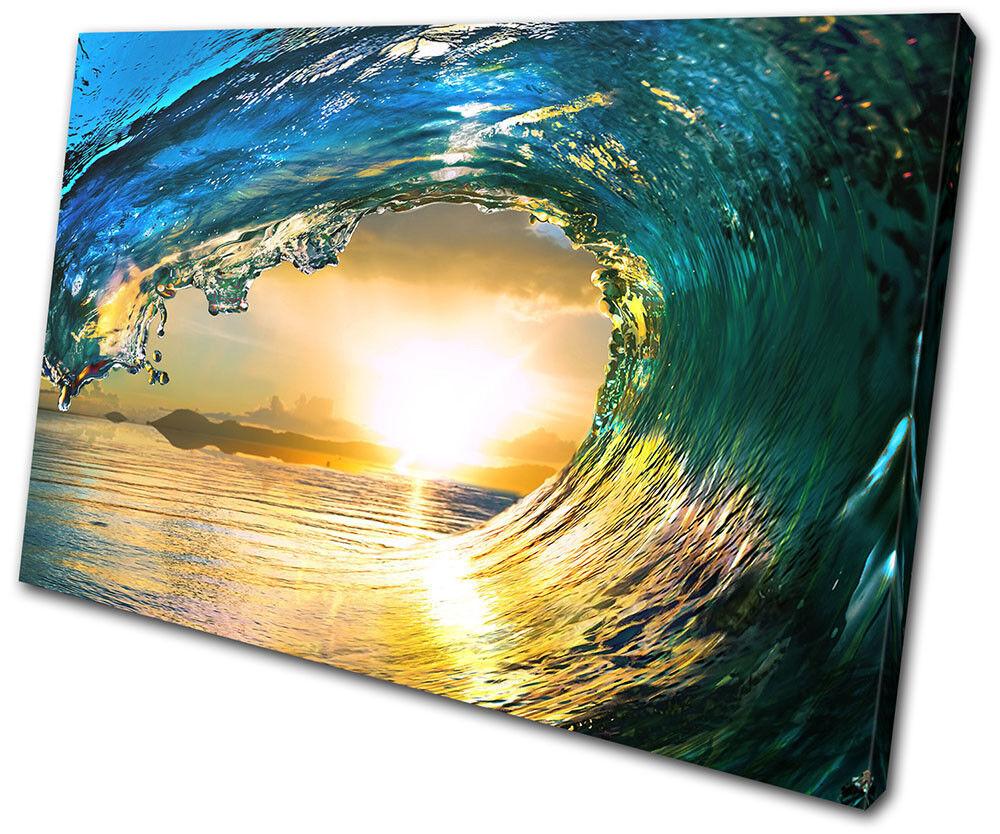 Tahiti Sea Ocean Wave  Sunset Seascape SINGLE TOILE murale ART Photo Print