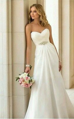 New Ivory Strapless A Line Beach Wedding Dress Bridesmaid Evening Gown Size 16