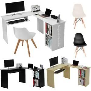 L Shaped Computer Desk Keyboard Tray And Bookshelf Corner Table