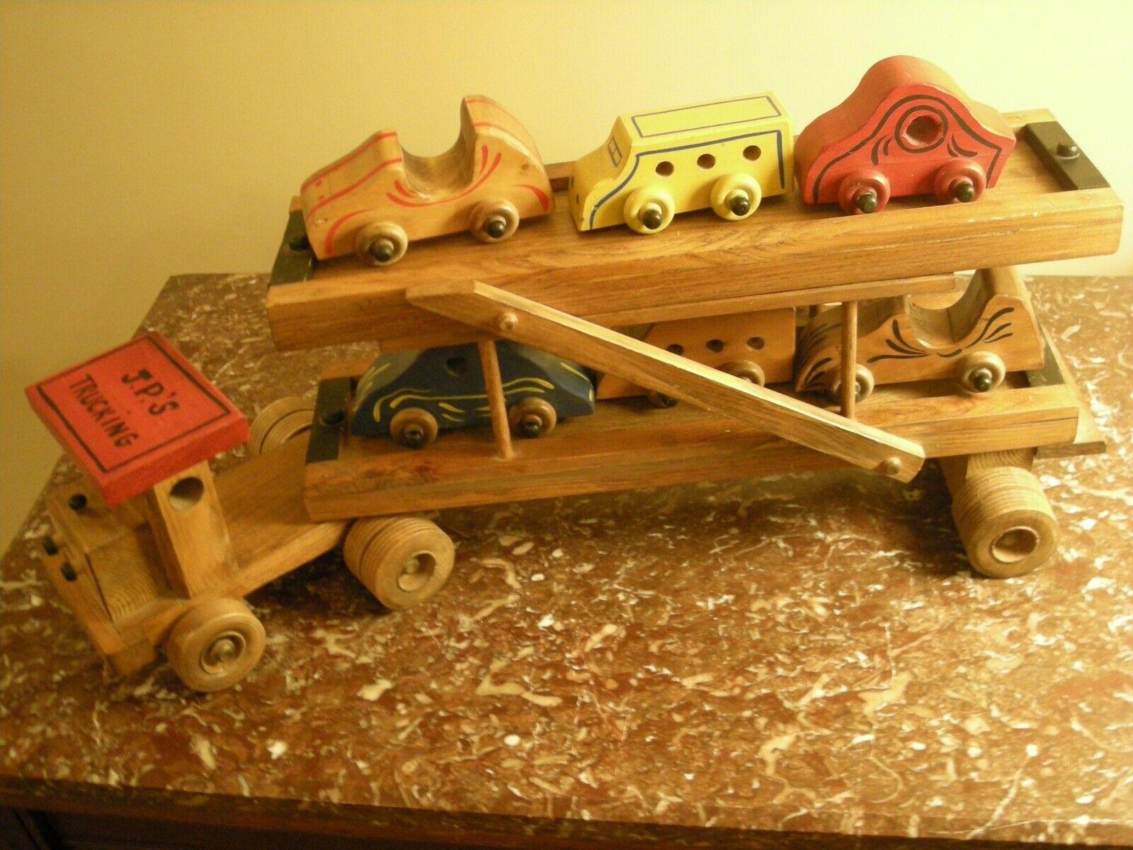 Carro Juguete Hecho a Mano Vintage De Madera Portador de superficie plana con seis coches hecho a medida