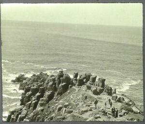 41-Lantern-Glass-Slide-Lands-End-Tourists-Cornwall-Photo-pre-1920s