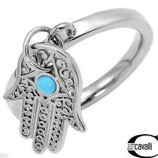JUST CAVALLI  Lovely Hand Charm Ring W/Genuine Turquoise in Silver Base Metal