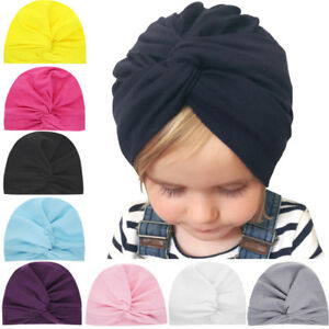 37c5d93c5ee Toddler Newborn Kid Baby Boys Girls Solid Knot Turban Beanie Hat ...