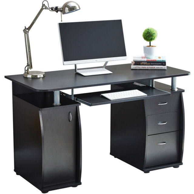 Desk Cabinet: Deluxe Computer Desk With Cabinet And 3 Drawers For Home
